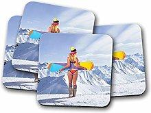 4 Set - Snowboarder Chick Girl Drinks Coaster -