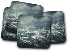 4 Set - Stormy Seas Cork Backed Drinks Coaster -