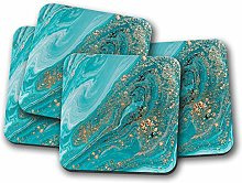 4 Set - Turquoise Marble Coaster - Gold Glitter