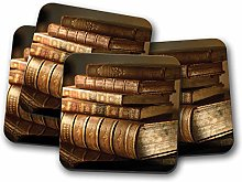 4 Set - Vintage Books Coaster - Reading Book Worm