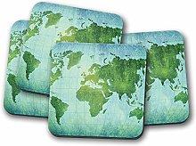 4 Set - Vintage World Map Coaster - Geography
