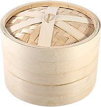 4 Sizes 2 Levels Bamboo Steamer Basket Natural