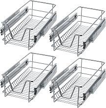 4 Sliding wire baskets with drawer slides - 27 cm