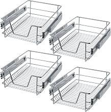 4 Sliding wire baskets with drawer slides - 37 cm
