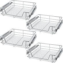 4 Sliding wire baskets with drawer slides - 57 cm