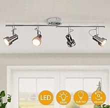 4 Swiveling Heads LED Ceiling Spotlights, Chrome