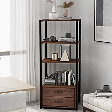 4-Tier Bookcase with 2 Large Drawers, Brown