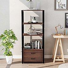 4 Tier Floor Cabinet Metal and Wood Bookshelf and