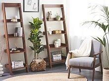 4-Tier Ladder Bookcase Dark Wood Book Shelf Display