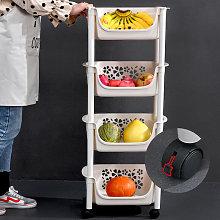 4 Tier Plastic Shower Shelf Kitchen Trolley Fruits