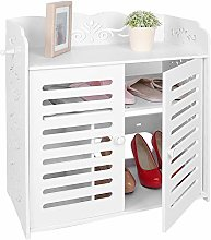 4 Tiers Shoe Cabinet White Shoe Rack Wood Shoe