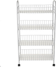 4 Tiers Space Saving Kitchen Stor Basket Trolley