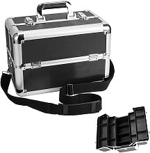 4 Trays Makeup Box Cosmetic Organiser Case Vanity Nail Box with Mirror and Polish Slots, Lockable with Keys & Shoulder Strap, Black & Silver