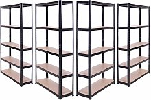 4 x Black Metal 5 Tier Garage Shelves Shelving