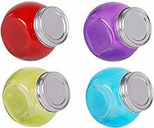 4 x Glass Tilt Jar Mini 200ml Tilt Tall Coloured