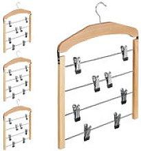 4 x Multiple Trouser Hanger, Wooden Coat Hanger