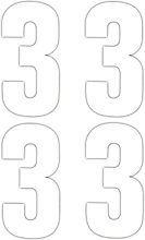 4 x Number 3 Wheelie Bin Stickers