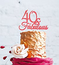 40 & Fabulous - 40th Birthday Cake Topper - Light