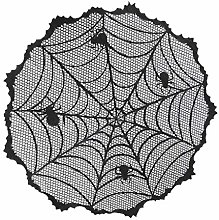 40-Inch Black Spider Halloween Table Topper Cloth,