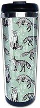 400ML Fox Mint Green Woodland Animal Steel Coffee