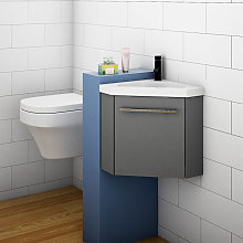 400mm Grey Cloakroom Bathroom Corner Sink Vanity