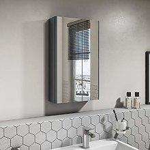 400mm Wall Hung Mirror Cabinet - Dark Grey Gloss