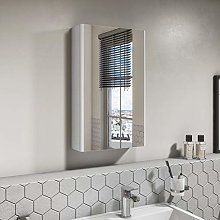 400mm Wall Hung Mirrored Cabinet - White Gloss