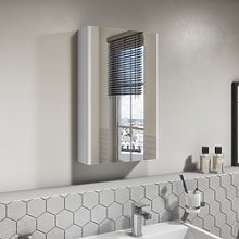 400mm Wall Hung Mirrored Single Door Cabinet White