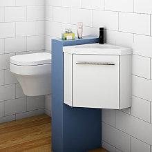 400mm White Cloakroom Bathroom Corner Sink Vanity