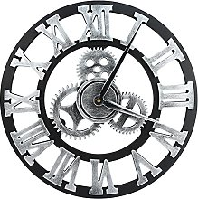 40CM Silver Gears Wall Clock - Large 3D Retro