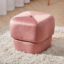 40CM Square Velvet Buttoned Footstool, Pink