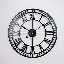 40CM Wall Clock Metal & Wood Roman Numerals