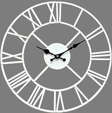 40Cm White Large Metal Skeleton Wall Clock