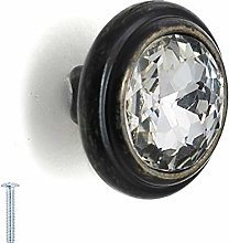 40mm Rounded Circle Glass Crystal Knob Antique