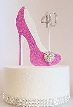 40th Birthday Cake Decoration Pink Shoe with