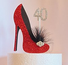 40th Birthday Cake Decoration Red and Black Shoe