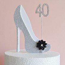 40th Birthday Cake Decoration Silver & White Shoe