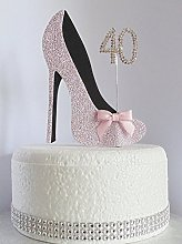 40th Pink and Black Birthday Cake Decoration Shoe