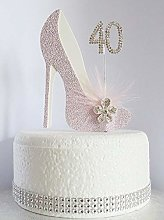 40th Pink and White Birthday Cake Decoration Shoe