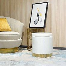 41cm Tall Ottoman Footstool,Velvet Round Modern