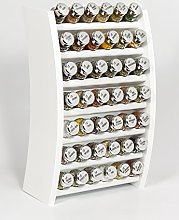 42 Jar Wooden Kitchen Spice Rack Filled with Herbs