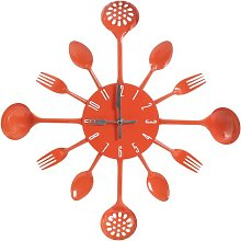43cm Cutlery Wall Clock Symple Stuff Colour: Orange