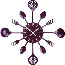 43cm Cutlery Wall Clock Symple Stuff Colour: Purple