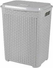 45 Litre Plastic Laundry Basket with Lid Rattan