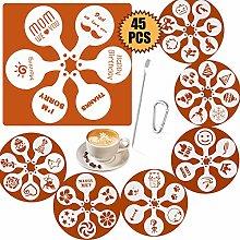 45 Patterns Coffee Stencils, SOSMAR Coffee Barista