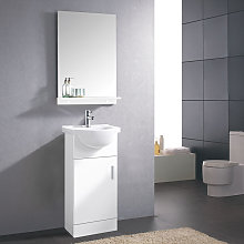 450mm Gloss White Cloakroom Basin Vanity Unit Sink