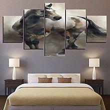 45Tdfc 5 panels Canvas Wall Art Running Horse