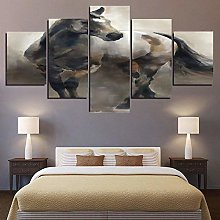45Tdfc 5 Piece Canvases Print Art Running Horse