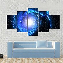45Tdfc Canvas Picture Wall Art Print- 5 Piece Blue