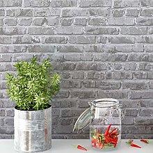 45x500cm Brick Wallpaper Removable Grey Brick